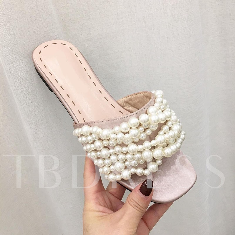 Slip-On Block Heel Rubber Beads Sandals