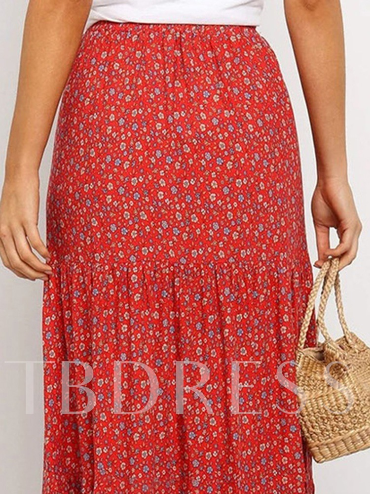 Print Floral A-Line Ankle-Length Travel Look Women's Skirt