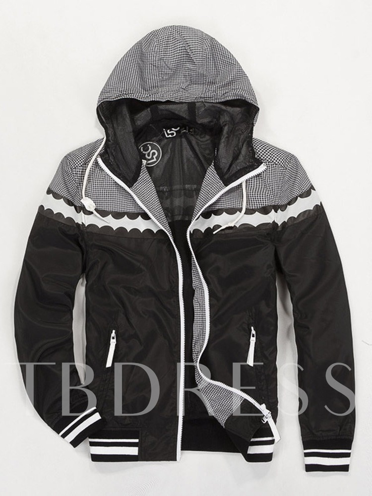 Hooded Color Block Slim Men's Jacket