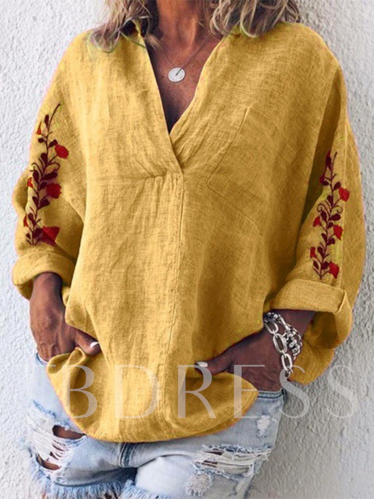 V-Neck Loose Casual Women's Blouse