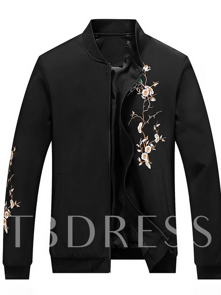 Embroidery Stand Collar Floral Slim Men's Jacket