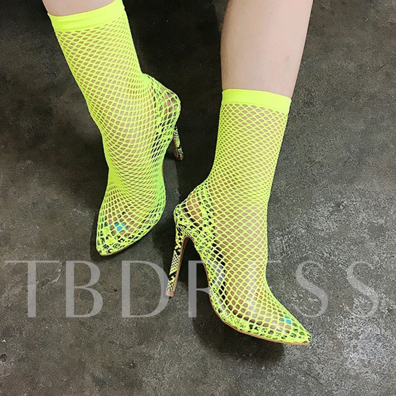 Stiletto Heel Hasp Color Block Pointed Toe Mesh Boots