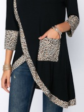 Three-Quarter Sleeve Leopard Mid-Length Casual Women's T-Shirt