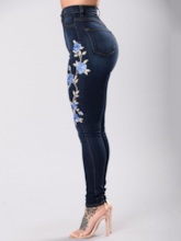 Pencil Pants Floral Embroidery Women's Jeans