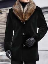 Notched Lapel Patchwork Mid-Length Single-Breasted Men's Coat