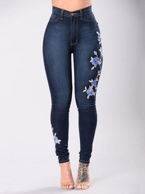 pantalon crayon broderie florale jeans skinny femme