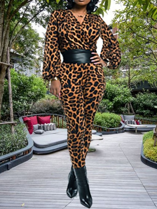 Leopard Western Print Full Length Slim Women's Jumpsuit