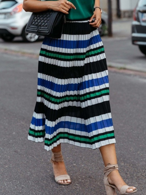 Pleated Print Color Block Mid-Calf Casual Women's Skirt