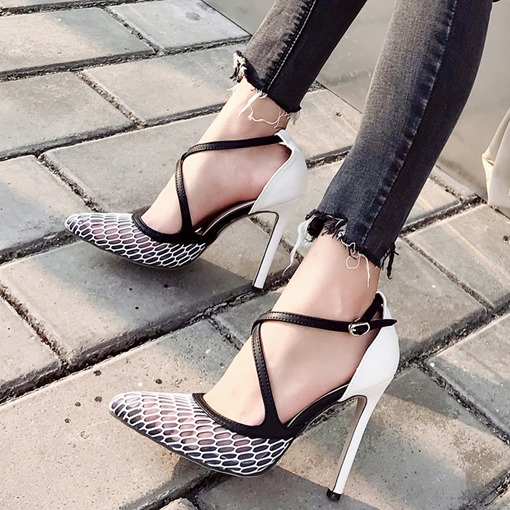Pointed Toe Buckle Mesh Casual Pumps