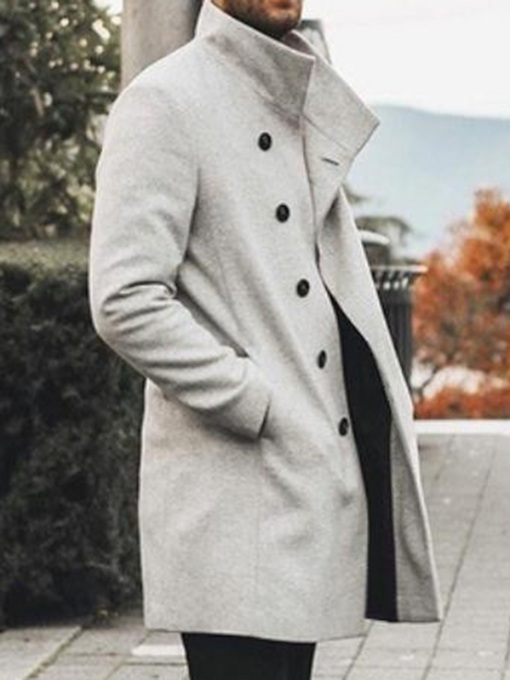Plain Stand Collar Mid-Length Men's Coat