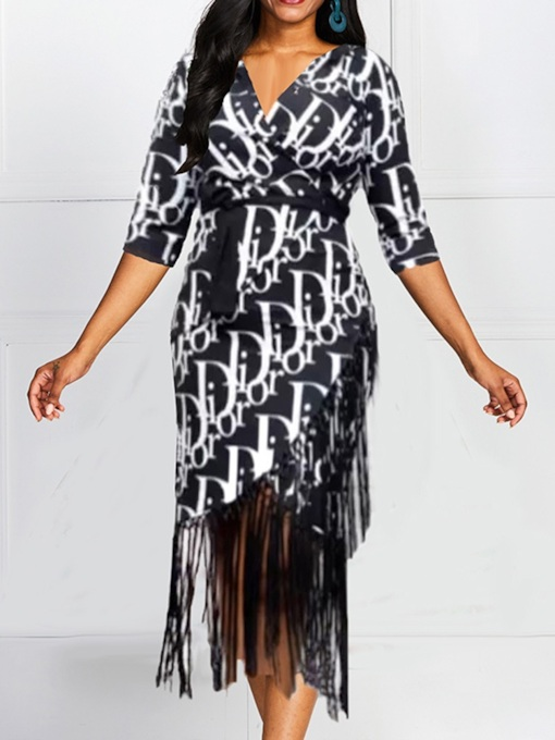 Mid-Calf Three-Quarter Sleeve V-Neck Print Women's Dress
