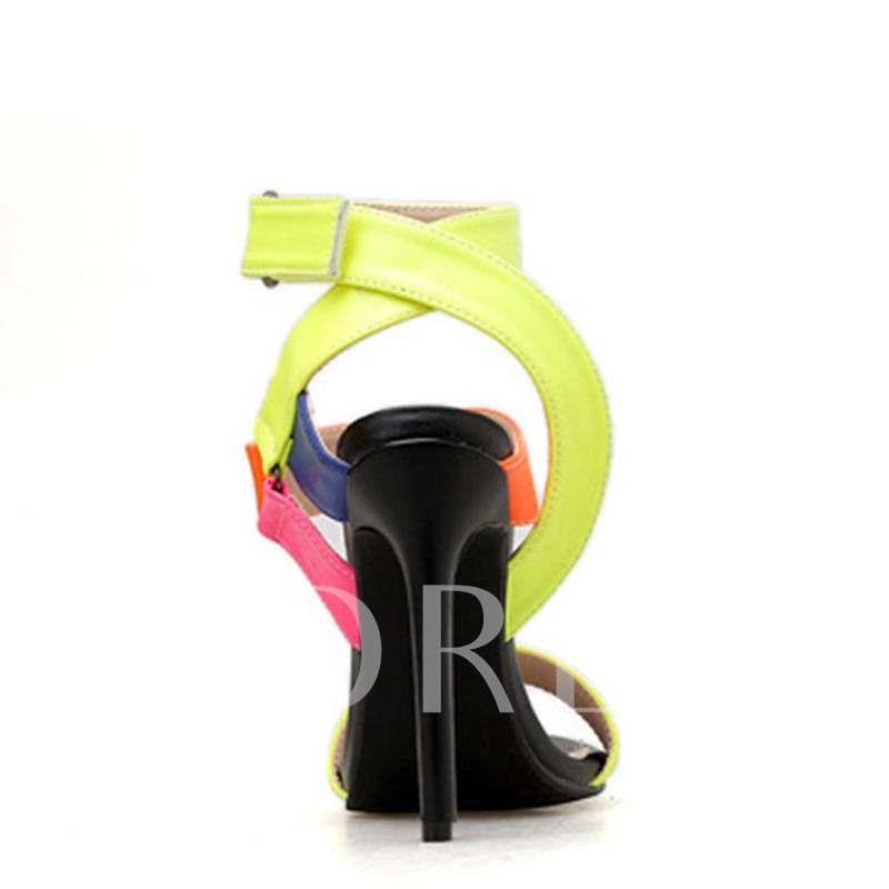 Open Toe Velcro Color Block Sandals