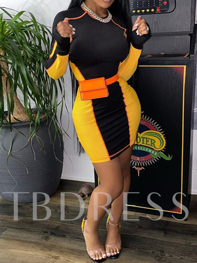 Round Neck Patchwork Long Sleeve Above Knee Pullover Women's Dress