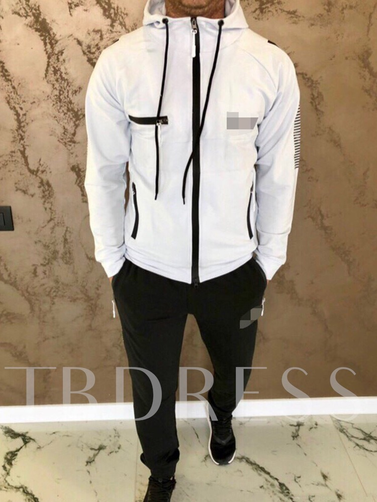 Sports Print Color Block Pants Spring Men's Outfit