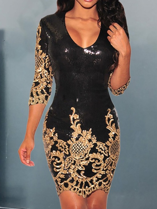 V-Neck Sequins Above Knee Three-Quarter Sleeve Sexy Women's Dress