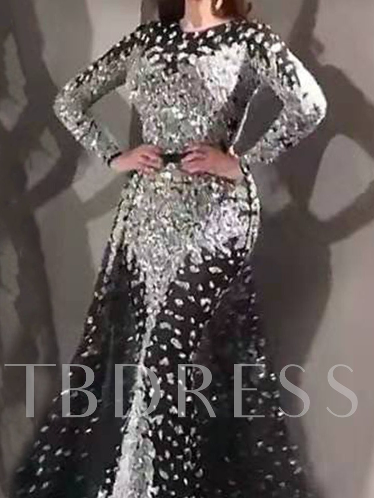 Floor-Length Long Sleeve Round Neck Sequins Elegant Women's Dress
