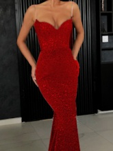 Sleeveless Floor-Length Sequins Plain Women's Dress