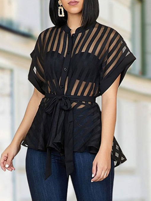 Plain See-Through Women's Blouse