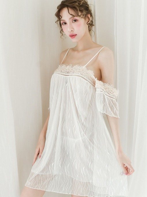 Spaghetti Strap Floral Lace Polyester Short Sleeve Nightgown Babydolls
