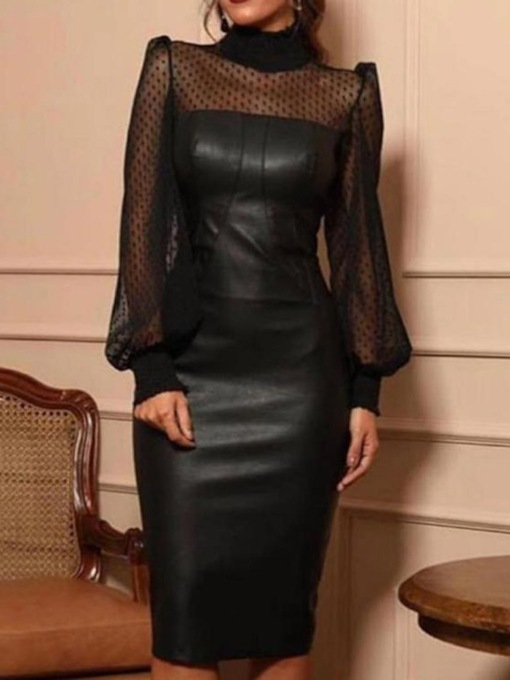 Mesh Long Sleeve Mid-Calf Turtleneck Bodycon Women's Dress