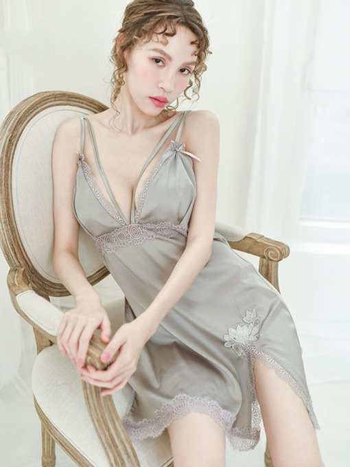 Floral Bowknot Slit Up Sleeveless Nightgown Polyester Babydolls