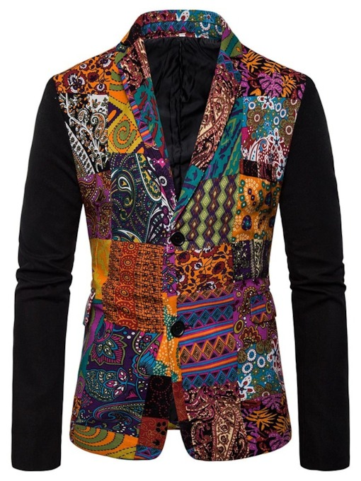 Geometric Notched Lapel Print Ethnic Men's leisure Suit