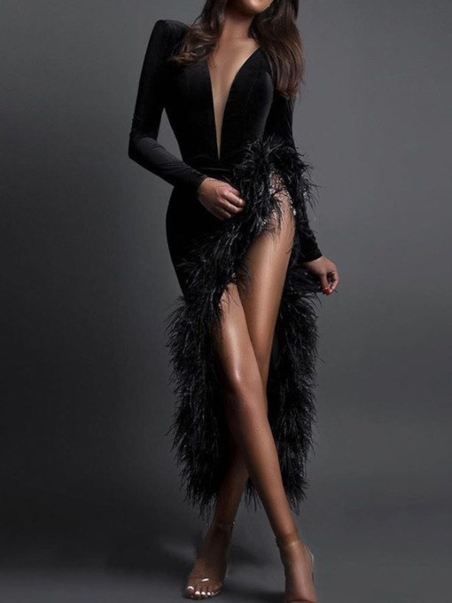 Mid-Calf Long Sleeve V-Neck Feather Regular Women's Dress