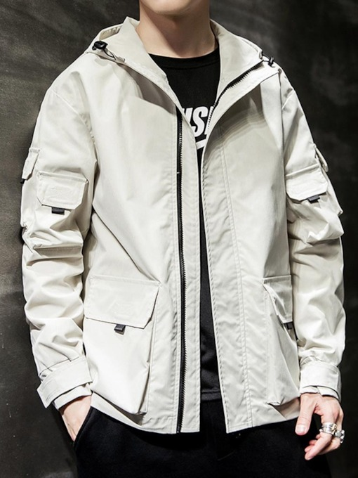 Letter Hooded Print Men's Jacket