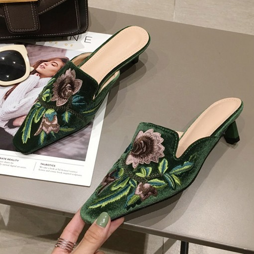 Embroidery Closed Toe Slip-On Stiletto Heel Floral Mules