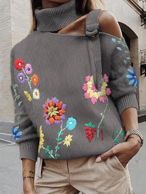 Print Plant Straight High Neck Women's Sweater