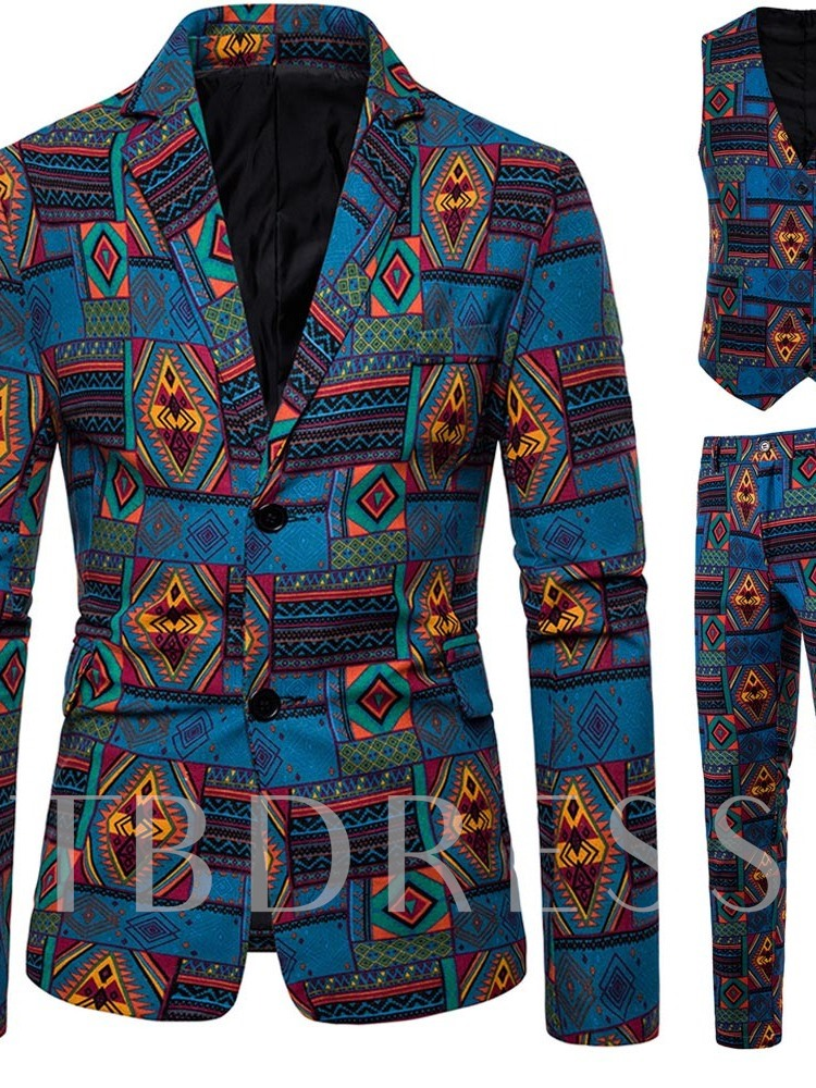 Geometric Vest Print Single-Breasted Men's Dress Suit