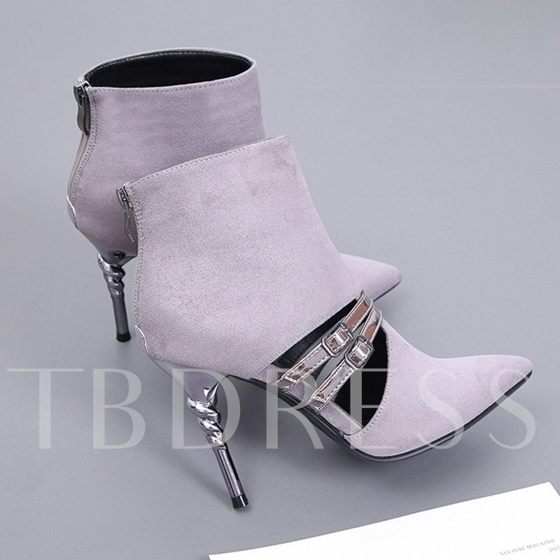 Pointed Toe Stiletto Heel Back Zip Casual Booties