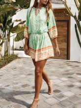 Floral Shorts Travel Look Print Loose Women's Rompers