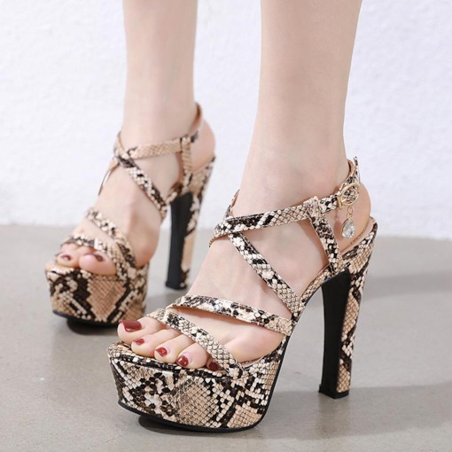 Buckle Chunky Heel Open Toe Strappy Casual Sandals