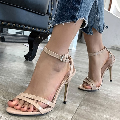 Stiletto Heel Line-Style Buckle Open Toe Sexy Sandals