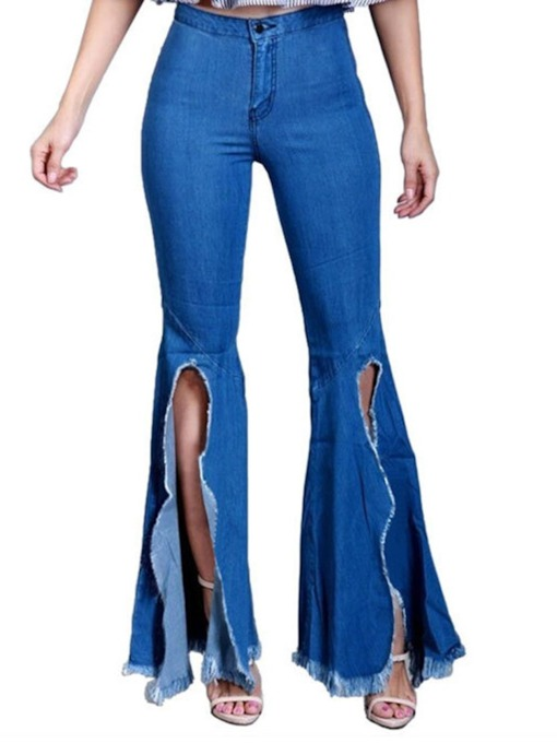 Bellbottoms Button Slim Damen Jeans