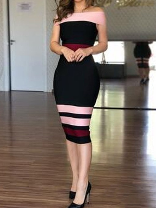 Off Shoulder Short Sleeve Mid-Calf Patchwork Sheath Women's Dress