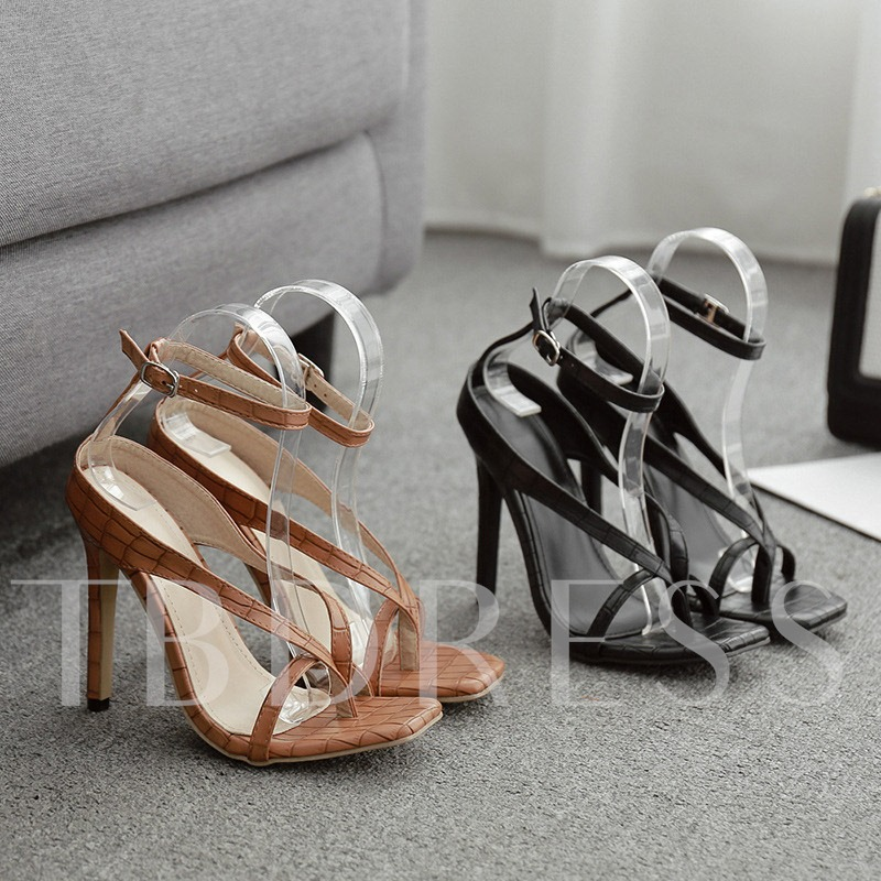 Line-Style Buckle Thong Stiletto Heel Sandals