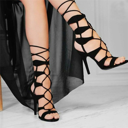 Open Toe Lace-Up Stiletto Heel Mid-Cut Upper Sandals