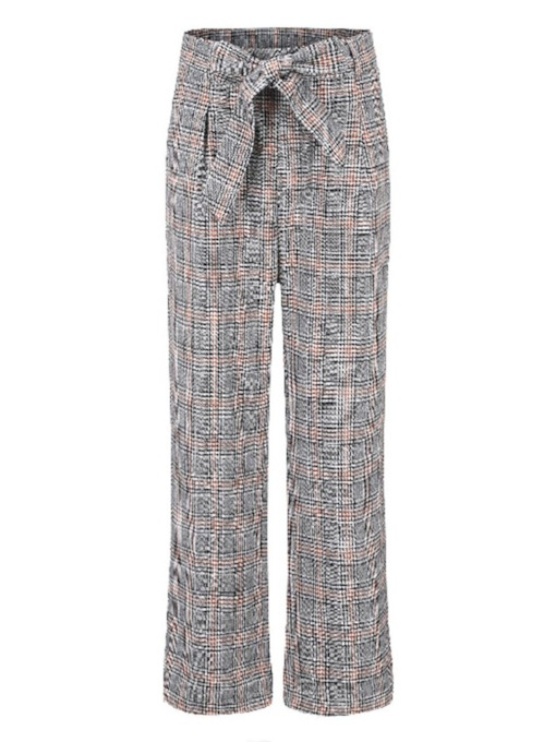 Loose Lace-Up Plaid Straight Women's Casual Pants