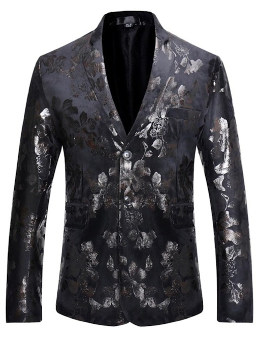 Slim Floral Casual Notched Lapel Men's leisure Suit