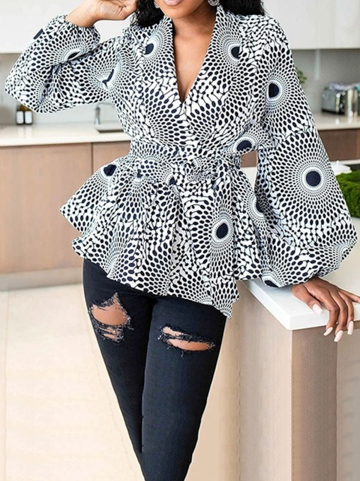 Geometric Lantern Sleeve V-Neck Long Sleeve Women's Blouse