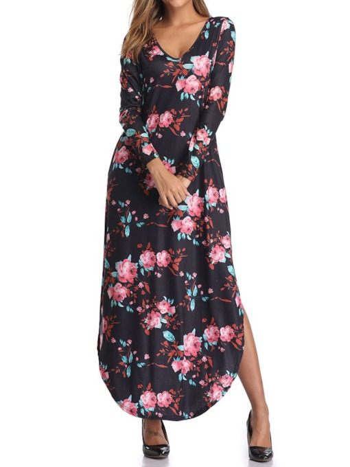 Floral Ankle-Length Long Sleeve Print V-Neck Regular Women's Dress