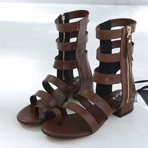 Block Heel Zipper Toe Ring Mid-Cut Upper Gladiator sandals