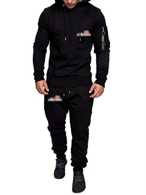 Casual Zipper Pants Cotton Blends Hoodie Men's Outfit