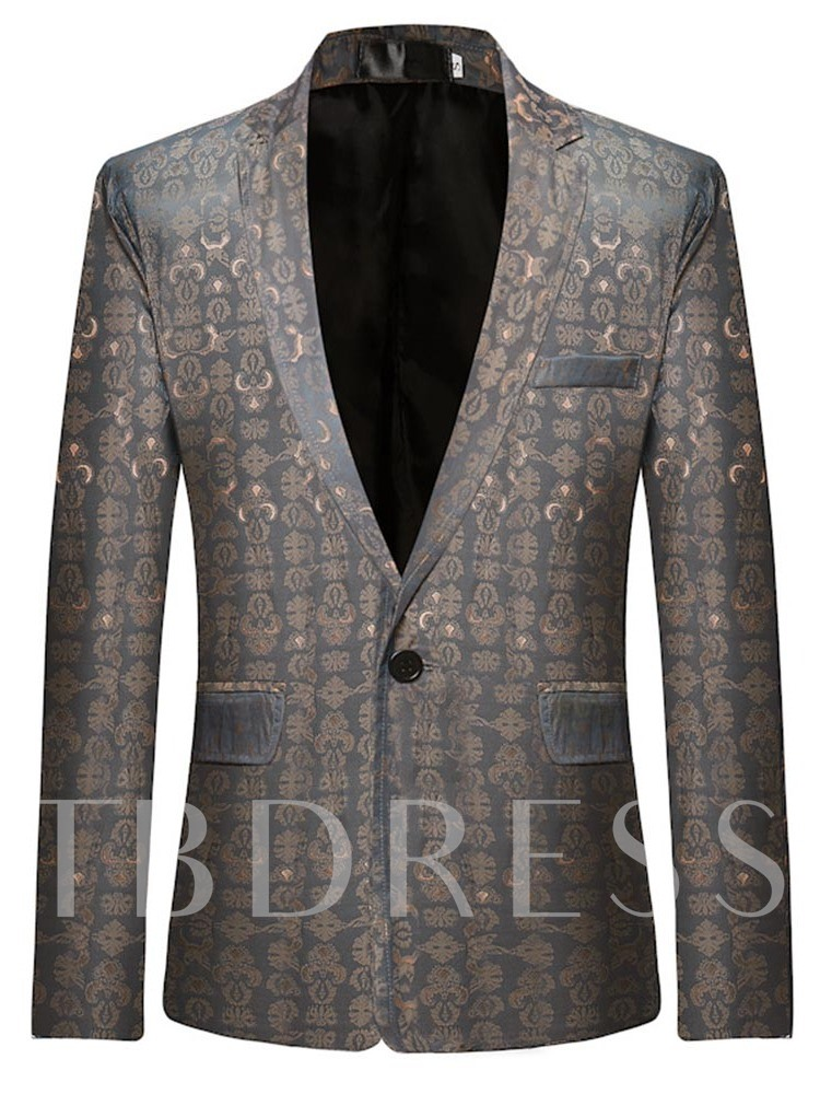 One Button Straight Geometric Print Men's leisure Suit
