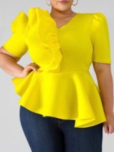 V-Neck Falbala Plain Short Sleeve Women's Blouse
