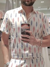 Color Block Shirt Print Casual Summer Men's Outfit