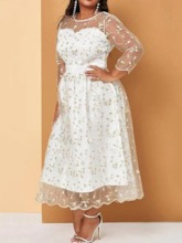 Round Neck Mid-Calf Embroidery Three-Quarter Sleeve Regular Women's Dress