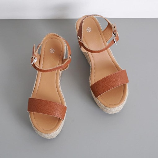 Buckle Open Toe Wedge Heel Summer Sandals